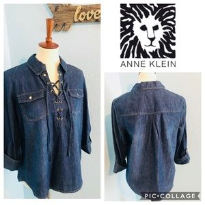 Anne Klein Top Denim NWT